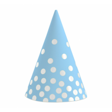 Papīra cepures, Zils ar sudrabu punktiņiem, (6 gb)