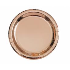 Šķīvīši, Rozā zelta krāsa, 8 gb. (23 cm)