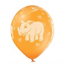 Lateksa balons ar zīmejumu, ZOO, Dzeltens, (30 cm)