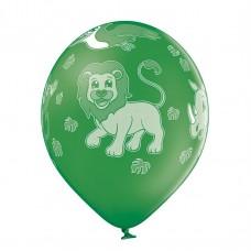 Lateksa balons ar zīmejumu, ZOO, Zaļa, (30 cm)