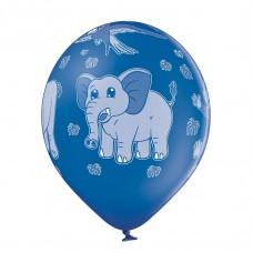 Lateksa balons ar zīmejumu, ZOO, Zils, (30 cm)