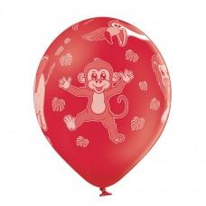 Lateksa balons ar zīmejumu, ZOO, Sarkans, (30 cm)