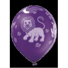 Lateksa balons ar zīmejumu, ZOO, Violets, (30 cm)