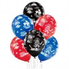Lateksa balons ar zīmejumu, Pirāti, (30 cm)