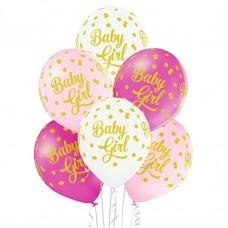 Lateksa balons ar zīmejumu, Baby Girl, Maigas krāsas, (30 cm)