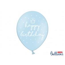 Lateksa balons ar zīmejumu, Happy Birthday, Zils, (30 cm)