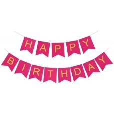 Virtene Happy Birthday, Rozā. (210 cm)