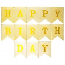 Virtene Happy Birthday, Zelts. (160 cm)