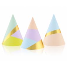Papīra cepures, Daudzkrāsains, Pasteļ, (6 gb)