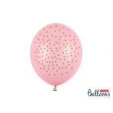 Lateksa balons ar zīmejumu, Gaiši rozā ar zelta punktiņiem, (30 cm)