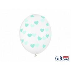 Caurspīdīga balons, Ar sirsniņām, Zils, (30 cm)