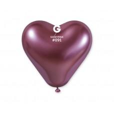 Lateksa baloni, Sirds, Rozā, Hrom, (30 cm)