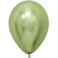 Lateksa balons, Spoguļa spīdums, Zaļš, Hrom, (30 cm)