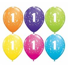 Lateksa balons ar zīmejumu, Cipars 1, Daudzkrāsains. (30 cm)