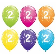 Lateksa balons ar zīmejumu, Cipars 2, Daudzkrāsains. (30 cm)