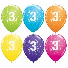 Lateksa balons ar zīmejumu, Cipars 3, Daudzkrāsains. (30 cm)