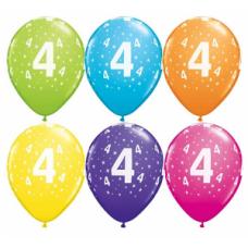 Lateksa balons ar zīmejumu, Cipars 4, Daudzkrāsains. (30 cm)