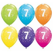 Lateksa balons ar zīmejumu, Cipars 7, Daudzkrāsains. (30 cm)