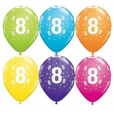 Lateksa balons ar zīmejumu, Cipars 8, Daudzkrāsains. (30 cm)