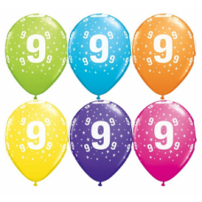 Lateksa balons ar zīmejumu, Cipars 9, Daudzkrāsains. (30 cm)