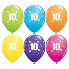 Lateksa balons ar zīmejumu, Cipars 10, Daudzkrāsains. (30 cm)