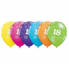 Lateksa balons ar zīmejumu, Cipars 18, Daudzkrāsains. (30 cm)