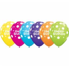 Lateksa balons ar zīmejumu, Happy Birthday, Daudzkrāsains., (30 cm)