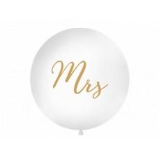 Lateksa balons ar zīmejumu, Mrs, Balts, (1 m)