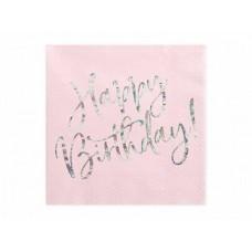 Salvetes, Rozā ar perlamutra burtiem Happy Birthday, 20 gb, (33 cm)