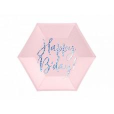 Šķīviši, Rozā, Happy Birthday, 6 gb. (20 cm)