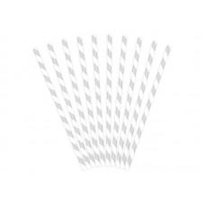 Papīra salmiņi, Sudrabs, 10 gb (19.5 cm)