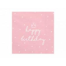 Salvetes, Roza ar kroni Happy Birthday, 20 gb, (33 сm)