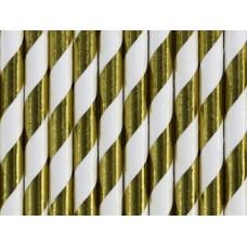 """Papīra salmiņi, Baltie ar zelta metāliskām strīpām"""", 10 gb, (19.5 cm)"""