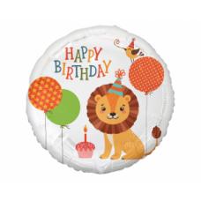 Aplis, Happy Birthday , Lauva ar baloniem, (45 cm)