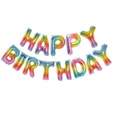 Balonu virtene Happy birthday,Varavīksnes krāsā, (35 cm)