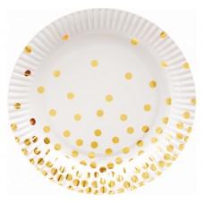 Šķīvīši , balti ar zelta punktiņiem, 6 gab, (18 cm)