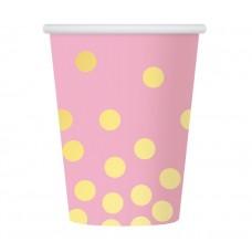 Glāzes, Rozā krāsa, Ar zelta punktiņiem, 6 gb, (270 ml)