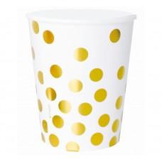 Glāzes, Baltā krāsa, Ar zelta punktiņiem, 6 gb, (270 ml)