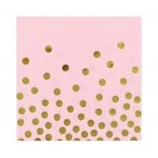 Salvetes, Rozā ar zelta punktiem, 12 gb, (33 cm)