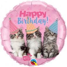 Balons Happy Birthday, Kaķēni, (46 cm)