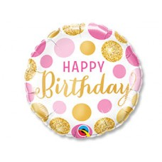 Balons Happy Birthday, Aprindās Rozā zelta, (46 cm)