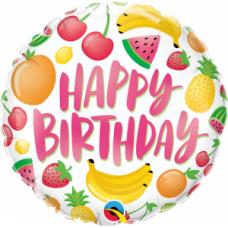 Folija balons, Happy Birthday ar augļiem, (46 cm)