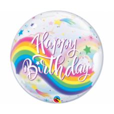 Caurspīdīga balons, Happy Birthday ar vienradžiem, (56 cm)