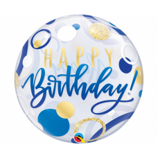 Caurspīdīga balons, Happy Birthday, Zils, (56 cm)