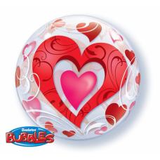 Caurspīdīga balons, Ar sirsniņām, (56 cm)