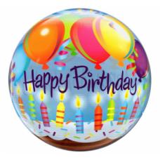 Caurspīdīga balons, Happy Birthday ar svecēm, (56 cm)