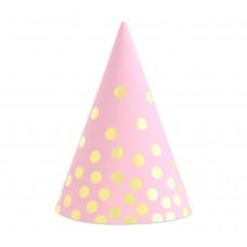 Papīra cepures, Rozā ar zelta punktiņiem, (6 gb)