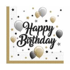 Salvetes, Happy Birthday, 20 gb, (33 cm)