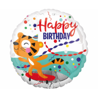Folija balons, Happy Birthday Tīģeris, (46 cm)