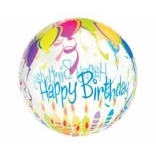 Folija balons, Happy Birthday ar sveces, (46 cm)